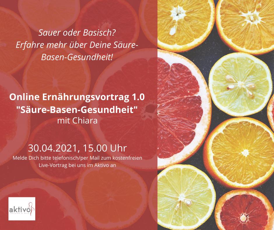 """Online Ernährungsvortrag 1.0 """"Säure-Basen-Gesundheit"""" mit Chiara"""